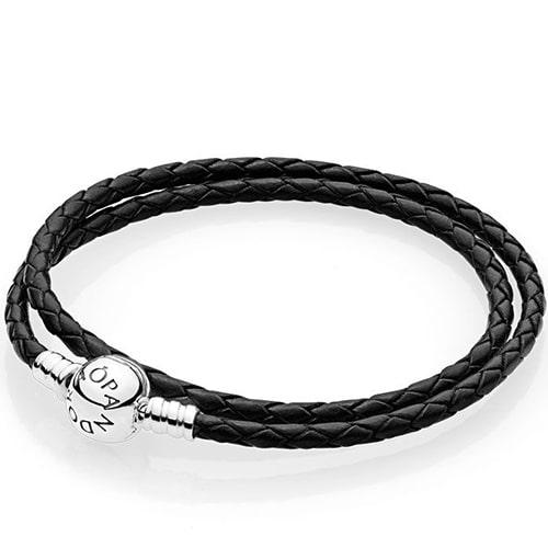черный кожаный браслет пандора фото