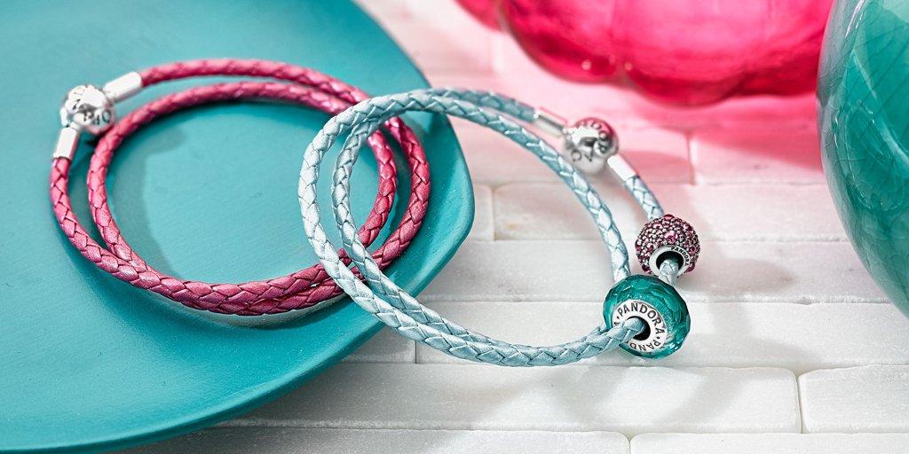 Кожаный браслет Пандора, светло-голубой браслет, розовый браслет Pandora